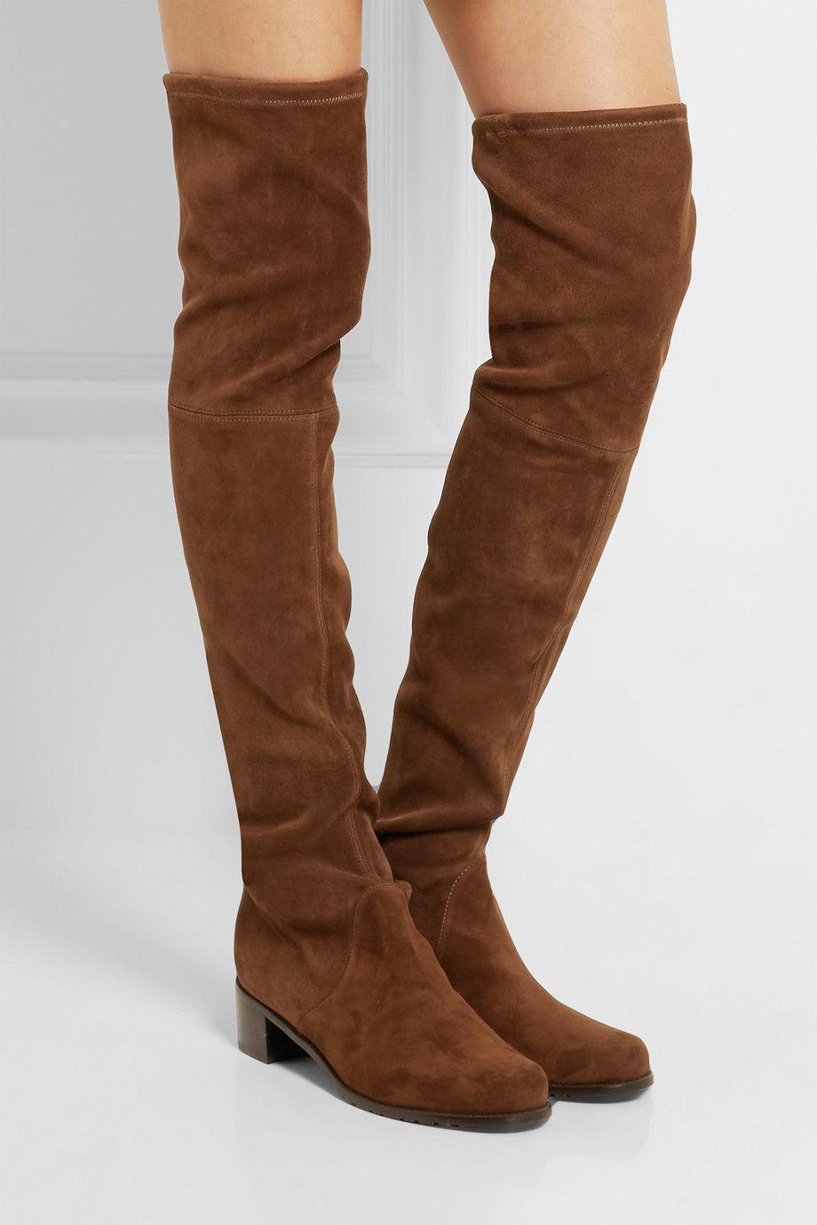 $795 Stuart Weitzman Midland Over Knee Walnut Boot Thigh High Booties 7.5