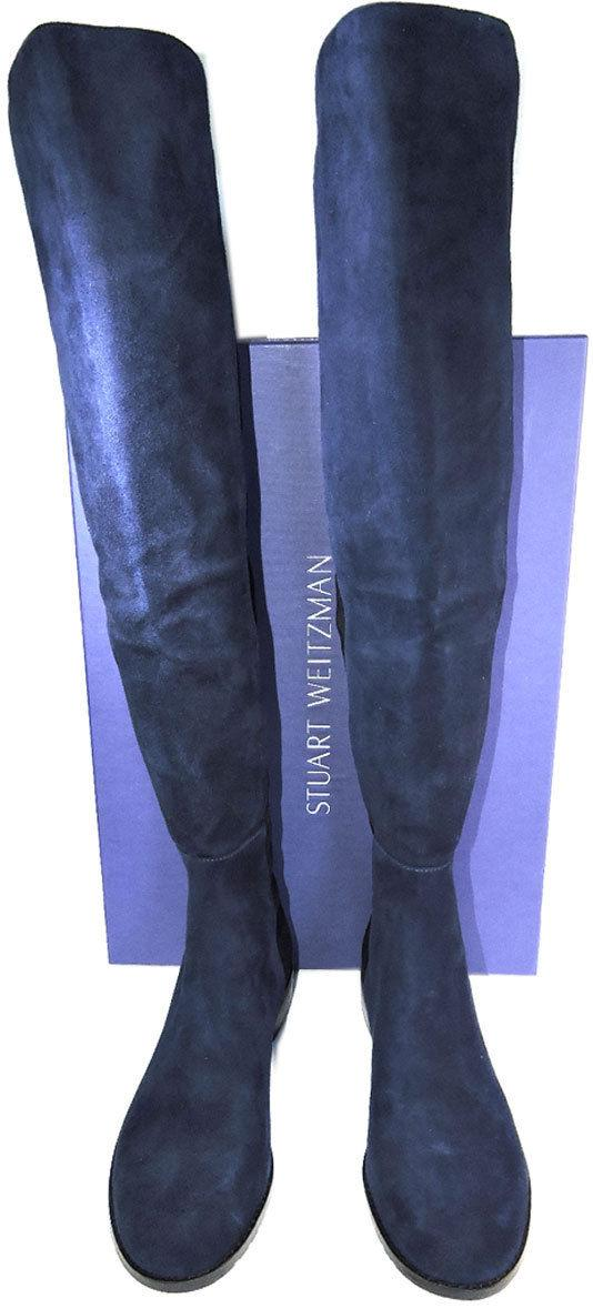 Stuart Weitzman 5050 Over Knee Boots 5050 Nice Blue Suede Flat Booties Shoe 9.5 - Click Image to Close