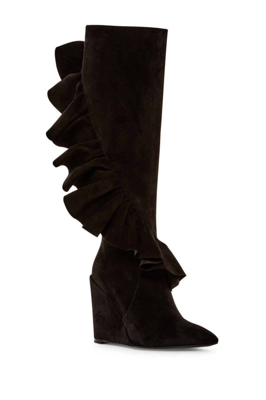 $1295 J.W.Anderson Black Suede Tall Ruffles Knee Boots Wedge Booties 38