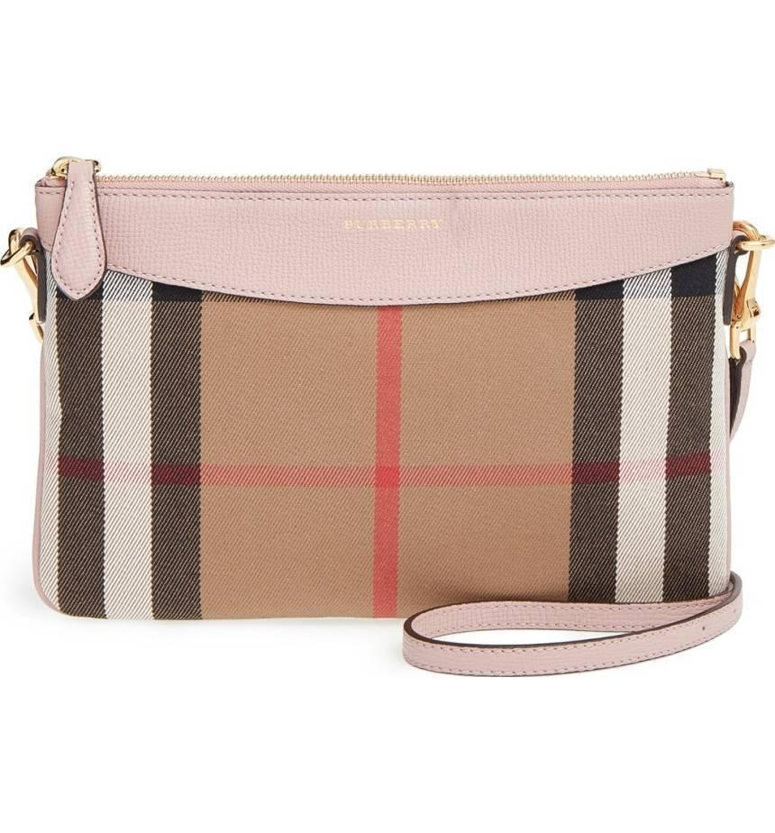 BURBERRY House Check PEYTON Crossbody+Shoulder Bag Purse Satchel Pale Orchard