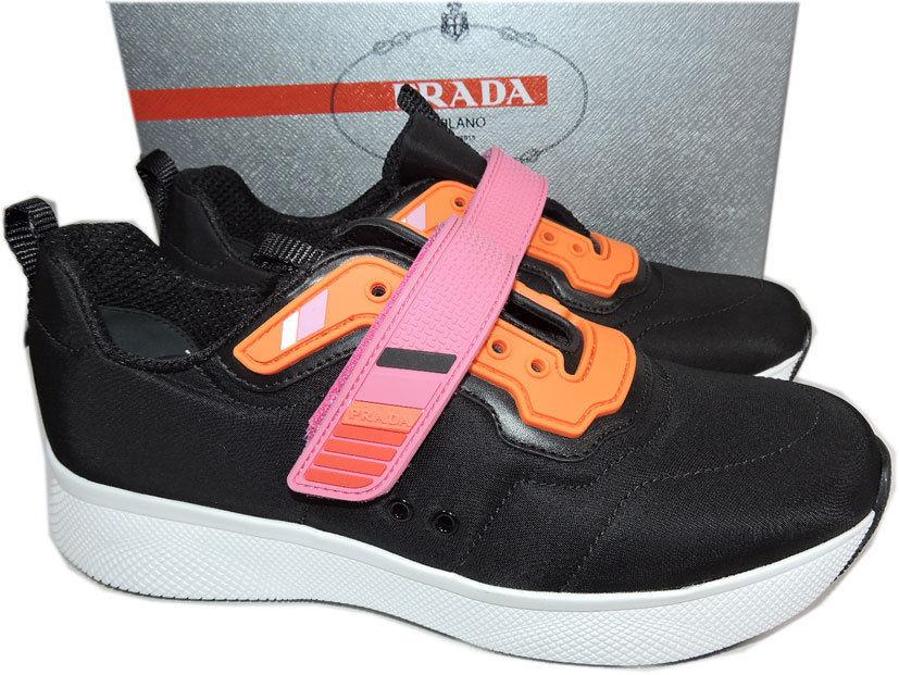 Prada Linea Rossa Runner Pink STRAP Navy Blue Sneakers 38 Shoes
