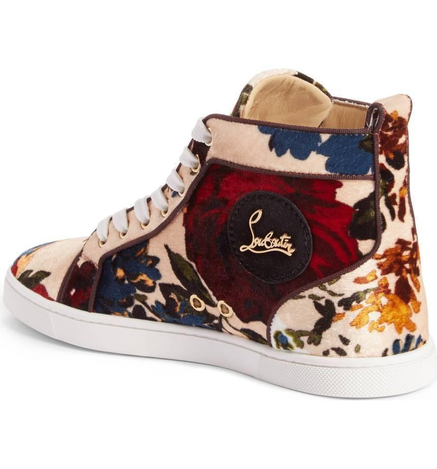 Christian Louboutin Floral Velvet Beige Sneakers High Top Flat Shoe 37- 6.5