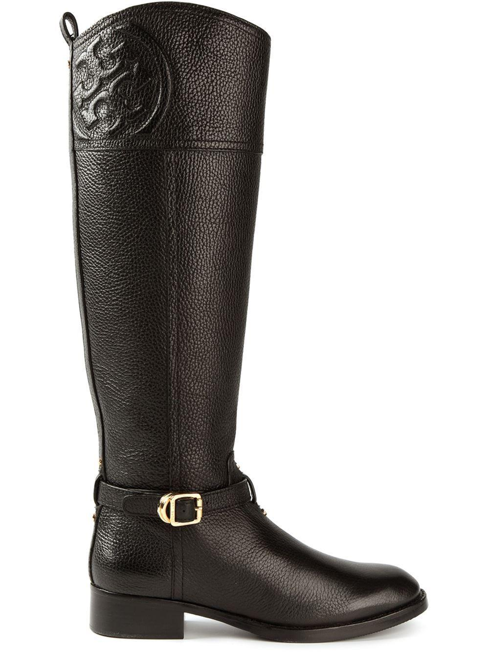Tory Burch Tumbled Black Leather Riding Boot Flat Equestrian Bootie 6.5 Logo