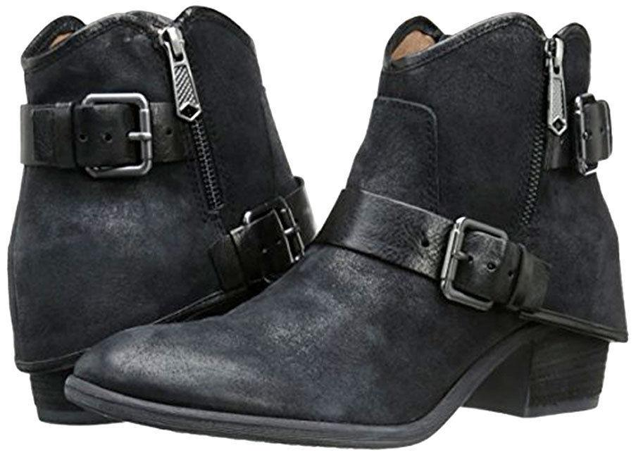 $348 Donald Pliner Ankle Riding Black Dalis Buckles Zippere Boots 8 Booties