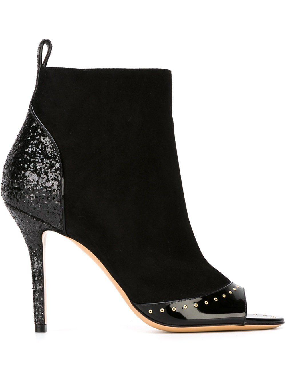 $990 Salvatore Ferragamo LISKIA Black Suede Ankle Boot Peep Toe Pump Booties 8
