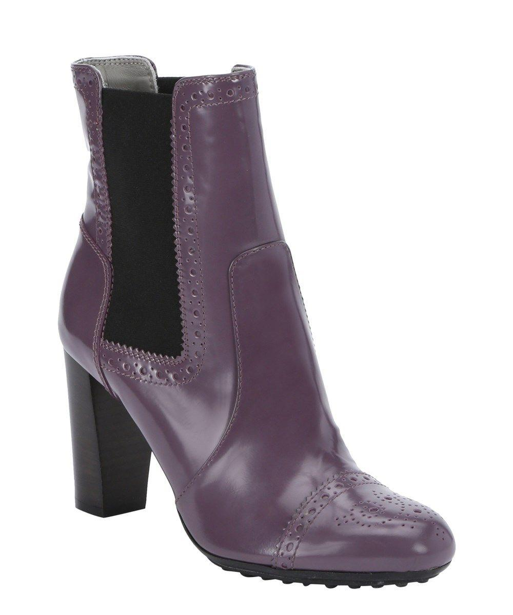 TOD'S Purple Leather Brogue Ankle Chelsea Booties Slip On Boots Shoes 39.5