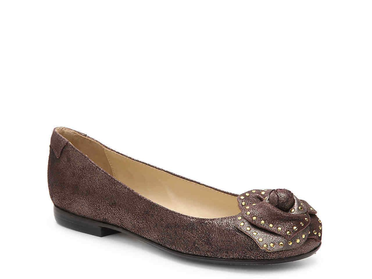 Taryn Rose Babylon Stud Rose Brown Shimmer Ballerina Shoes Flat Pumps 7.5