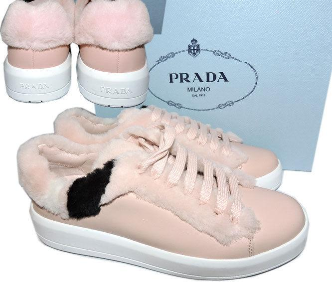 Prada Buckled Shearling Fur Leather Skate Sneakers 39 Shoes Espadrilles Pink