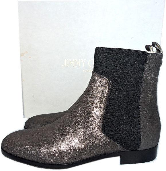 $950 Jimmy Choo Chelsea Anthracite Metallic Shimmer Suede Ankle Booties 37 Boots
