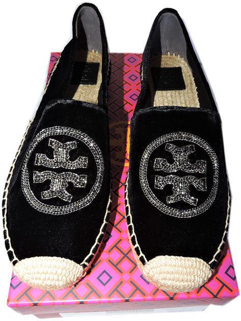 Tory Burch Chain Black Velvet Love Espadrille Flats Ballet Ballerina Shoe 10 -40 - Click Image to Close