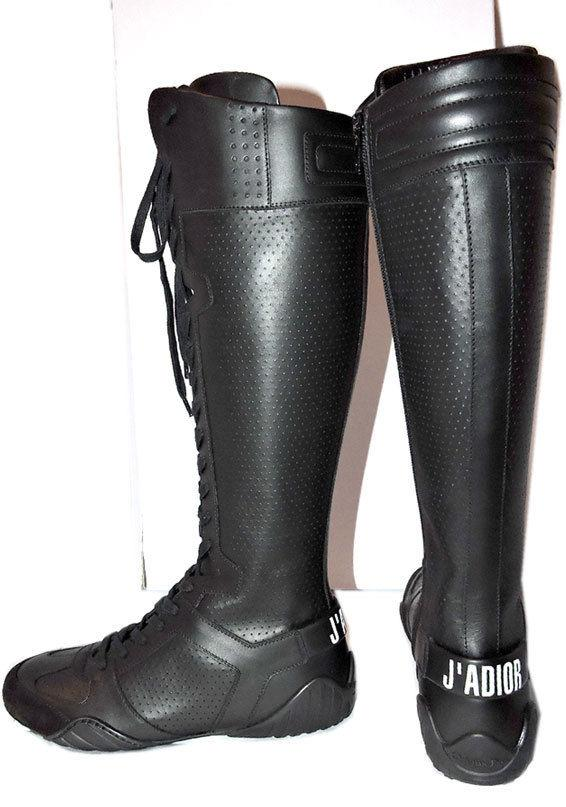 $1600 Christian Dior Tall Knee FENCE Sneakers Runnway Boots Black Bootie 36