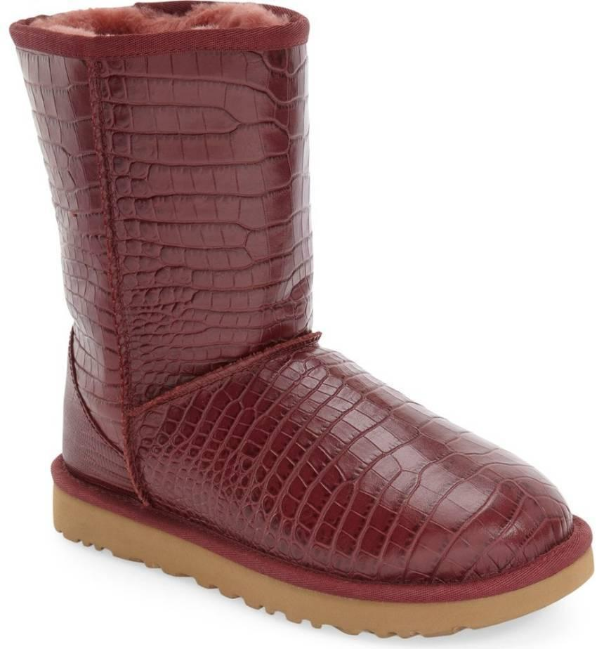 Ugg Australia Classic Short Boots Croco Leather Fur Lined Booties 9- 40