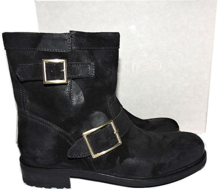 $1050 Jimmy Choo Black Biker Youth Short Motorcycle Boot Ankle Bootie 39.5