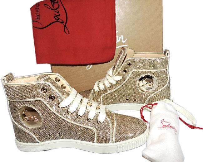 premium selection 642a0 8967b New 34 Christian Louboutin Gold Glitter Sneakers High Top Athletic Shoe  Luminor