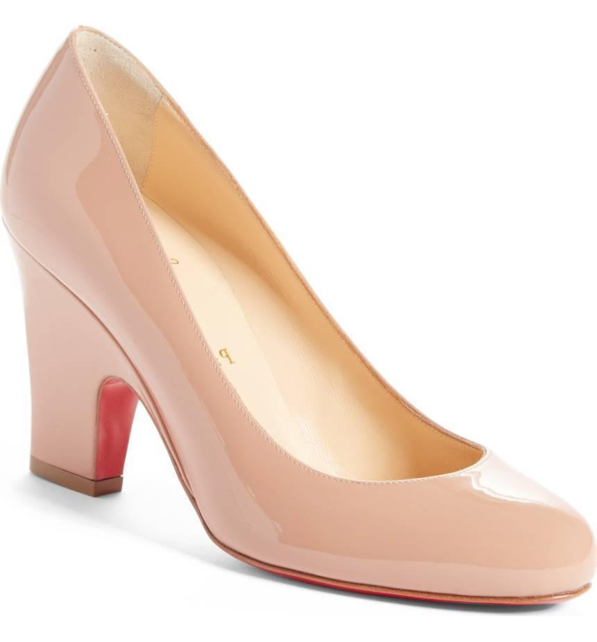 Christian Louboutin Akdooch Pumps NUDE Beige Patent Leather Wedge Shoes 37.5
