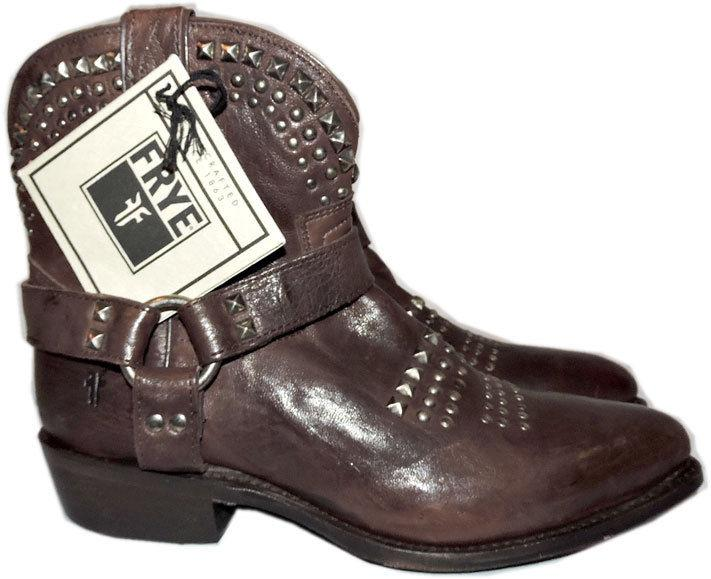 Frye Women's Billy Biker Studded Leather Short Harness Ankle Boots Booties 7.5