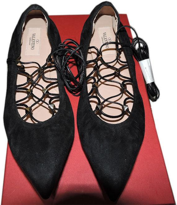 Valentino Rockstud Lace-Up Ballerina Ballet Flat Shoe Black Pointy Toe Pump 39