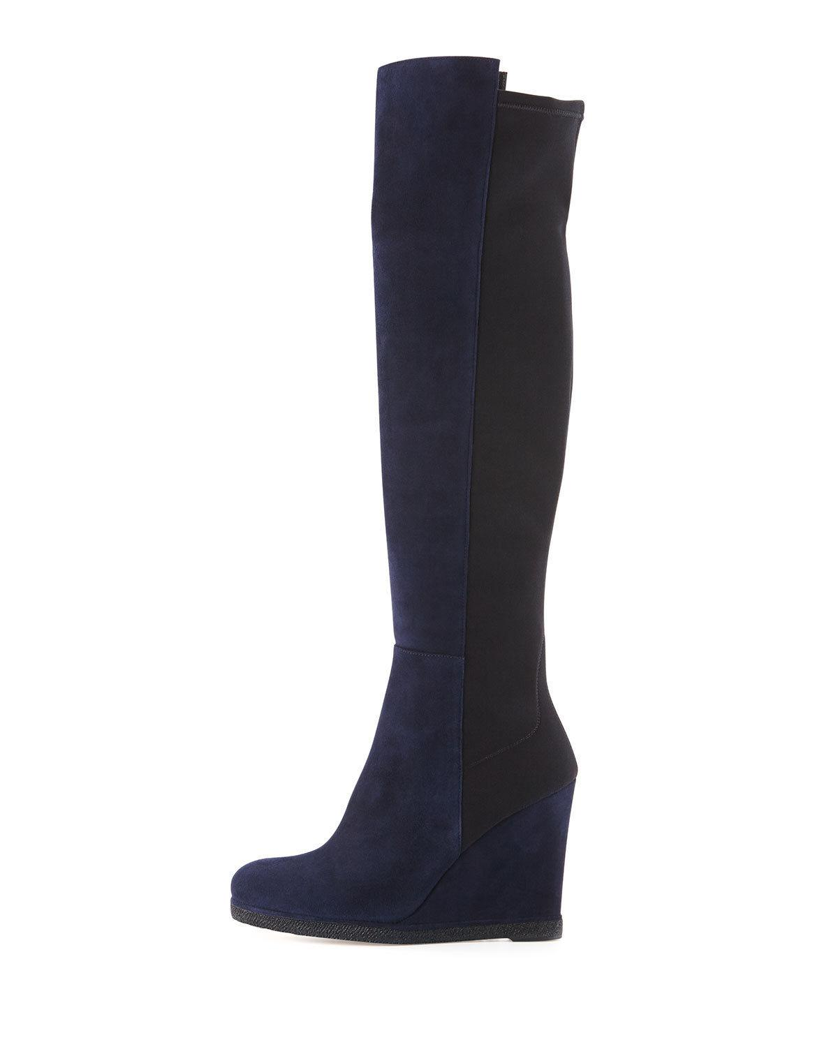 $695 Stuart Weitzman DEMISWOON Black Suede Wedge Stretch Boots OTK Over Knee 9