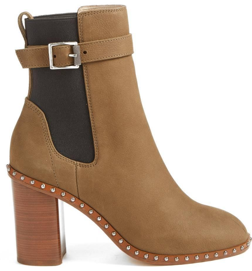 $595 Rag & Bone Romi Studded Chelsea Booties Military Ankle Buckle Boots 37.5