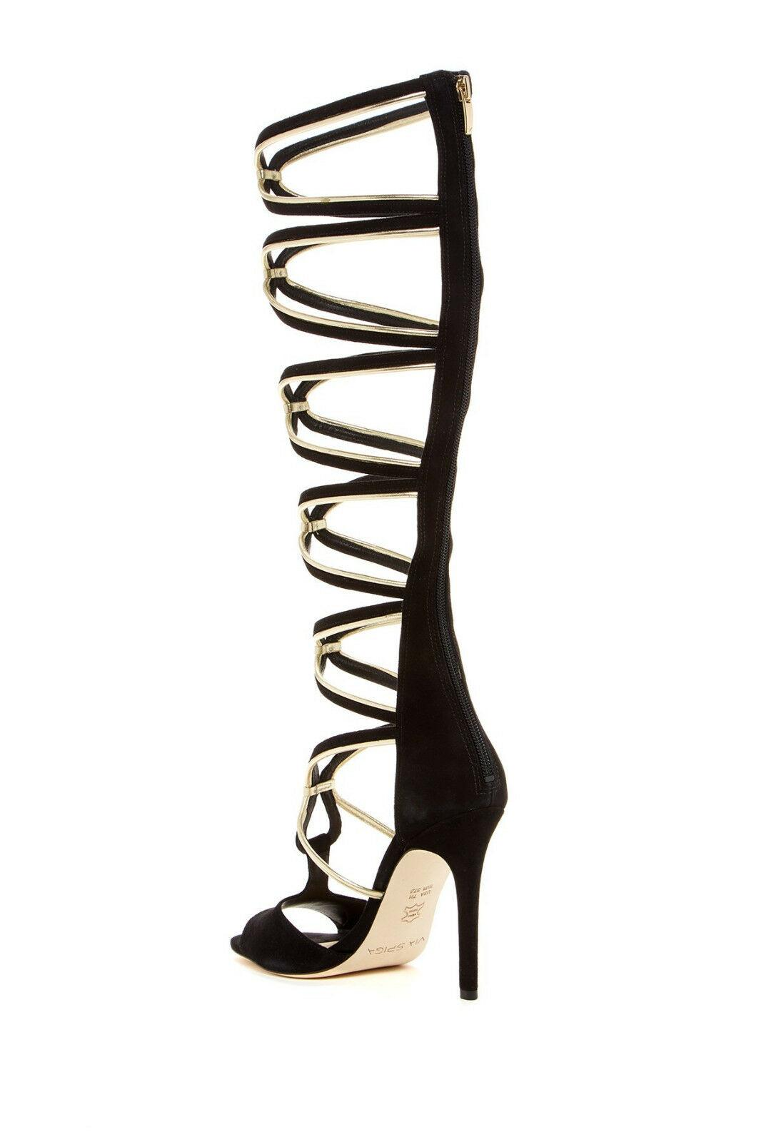 $350 Via Spiga Black Leather Tammrynn Gladiator Sandals Shoes 7.5- 37.5 Botie - Click Image to Close