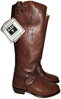 $648 Frye Dorado Boot Ridingtall Flat Equestrian Buckles Zipper Bootie 8 Brown