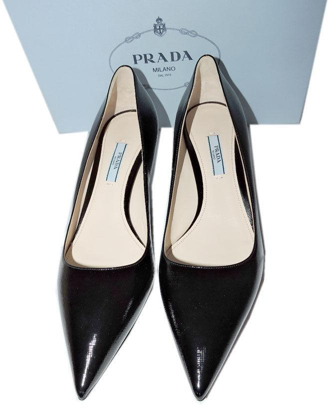 c232bc6f95c Prada Pointy Toe Black Saffiano Patent Leather Low Kitten Heel Pumps Shoe  40.5