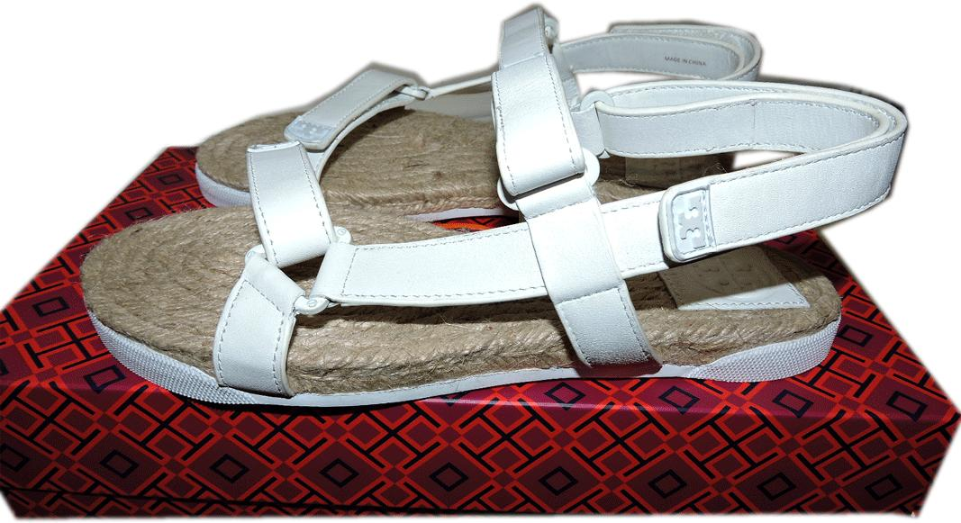 Tory Burch Bumper White Leather Logo Sandal Strappy Flat Espadrilles 7