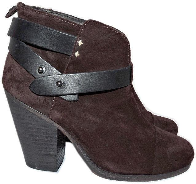 $495 Rag /& Bone HARROW Stone Buckle Boots Ankle Booties Taupe Shoes 38-7.5