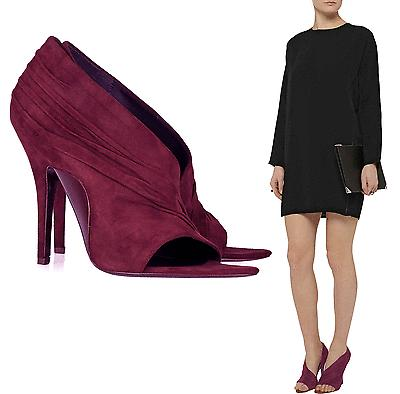 $755 Alexander Wang Gathered Suede Maja Pumps 39 Open Toe Burgundy Heel Shoes