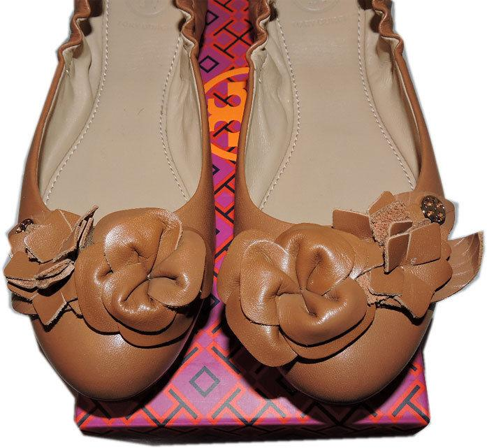 Tory Burch BLOSSOM Ballerina Flat Brown Leather Ballet Shoe Gold Logo Size 8