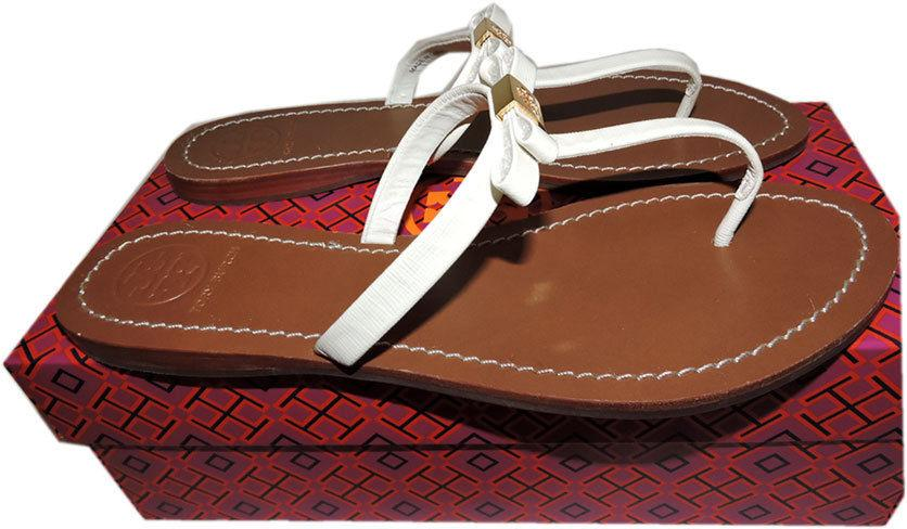c8141e1295f Tory Burch  leighanne  Thong Sandals White Bow Shoe Flip Flop Flat ...