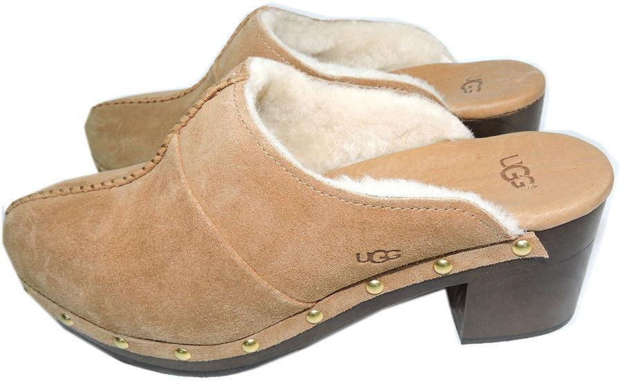 Ugg Australia Kassi Clogs Chestnut Mules Shearling Fur Lined Boots Booties 10