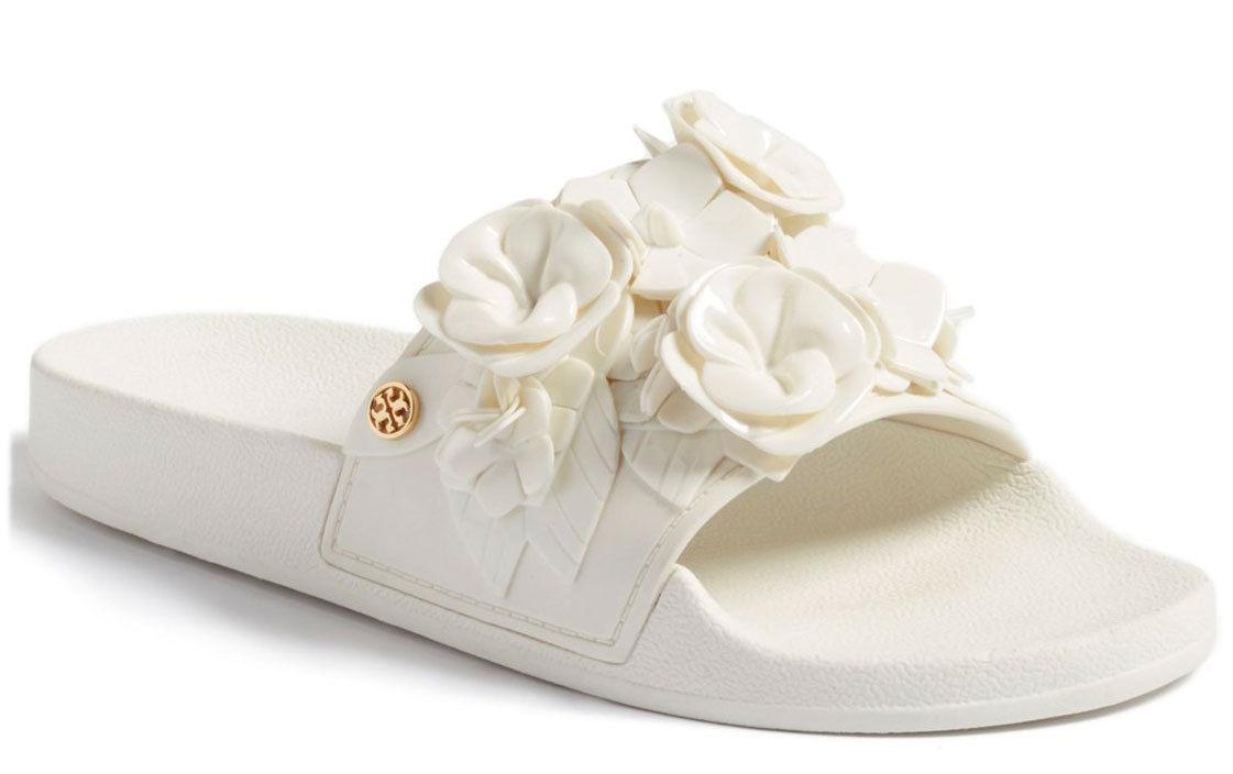 Tory Burch BLOSSOM White FLoral Slide Sandals Flat Mules 9 Shoes