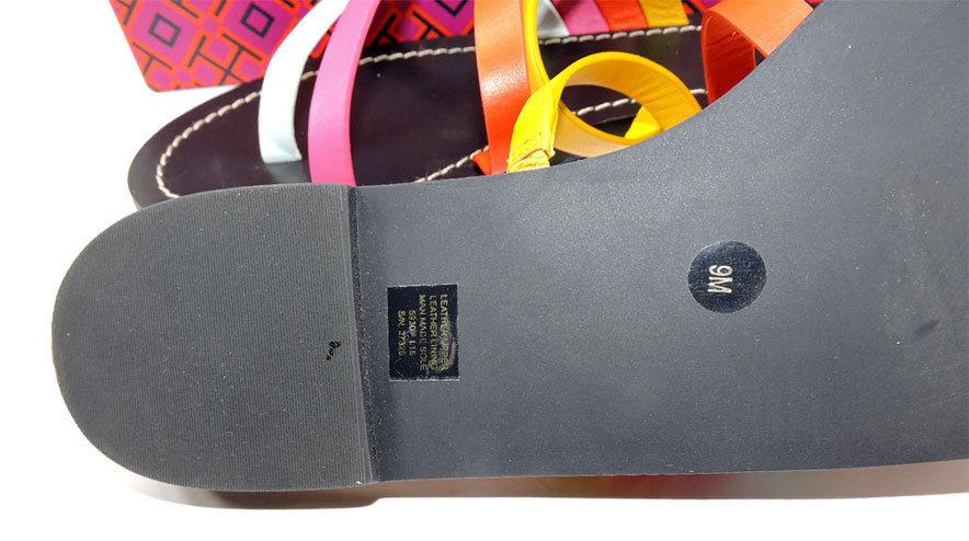 Tory Burch Patos Flat Thong Sandal Slide Mules Strappy Flip Flop 9 Shoes - Click Image to Close