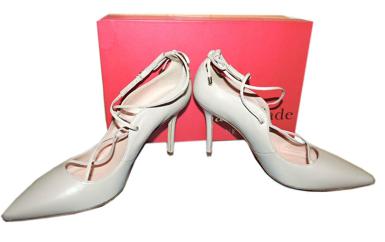 89861437ebc8 Kate Spade Priscilla Lace-Up Heels Pale Taupe Pumps Pointy Toe Heel Shoe 7.5
