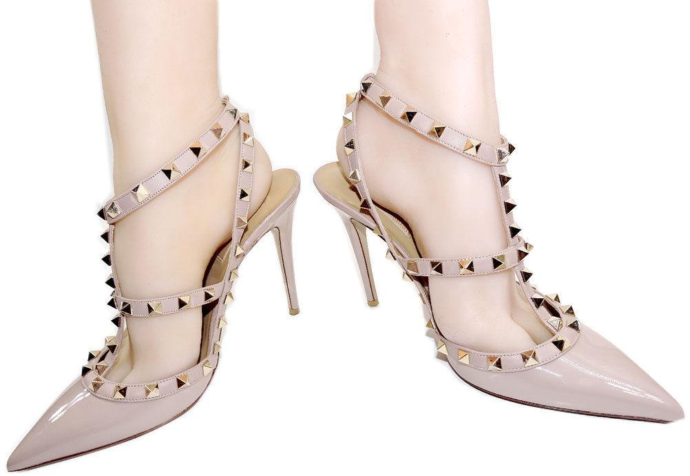 Valentino Rockstud T-Strap Beige- Nude Patent Leather Pointy Toe Pumps Shoe 39