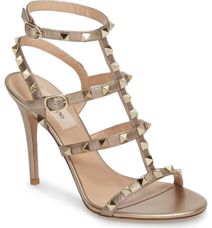 Valentino Rockstud T-Strap Gold Leather Cage Sandals Slingback Pumps Shoe 38.5