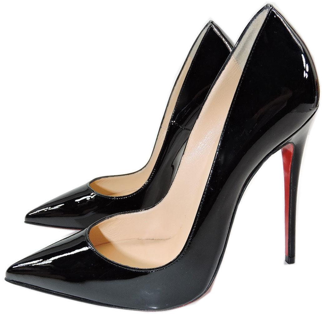 Christian Louboutin Black Patent Leather So Kate Pointed Toe Pump Shoes 36.5
