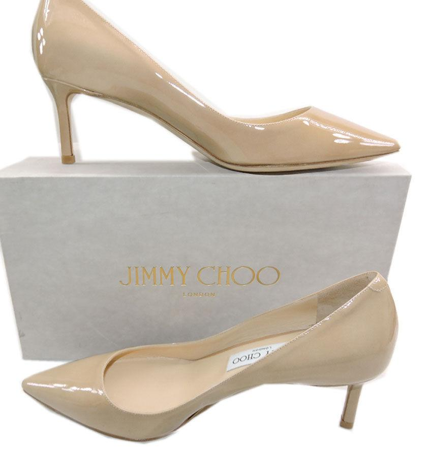 Jimmy Choo Aza Nude Patent Leather Pump Pointy Toe Low Kitten Heel Shoe 38.5