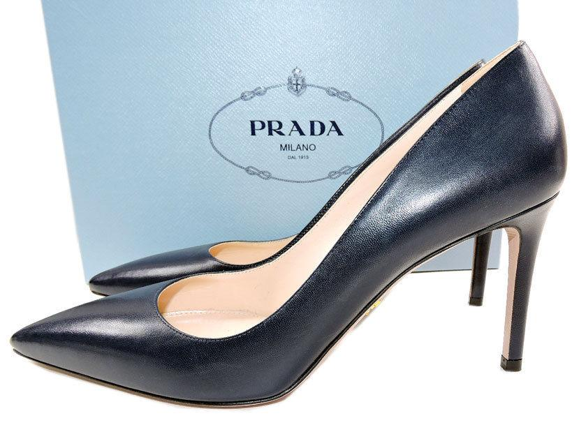 Prada Navy blue Leather Classic Pointy Toe Pumps Shoes 39 New - Click Image to Close