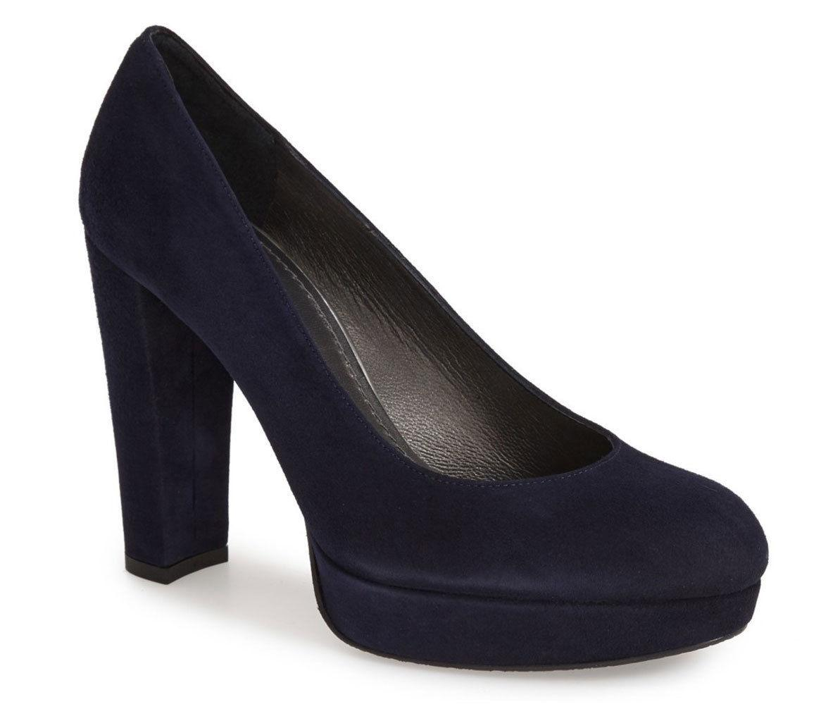 $455 Stuart Weitzman Strongswoon Pumps Navy Suede Platform Shoes Sz 10