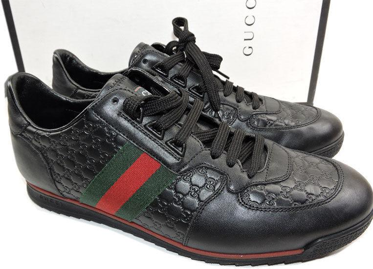 GUCCI Men's Low Profile SL 73 Sneakers Web Black Leather Shoe 8 Uk- 9 US
