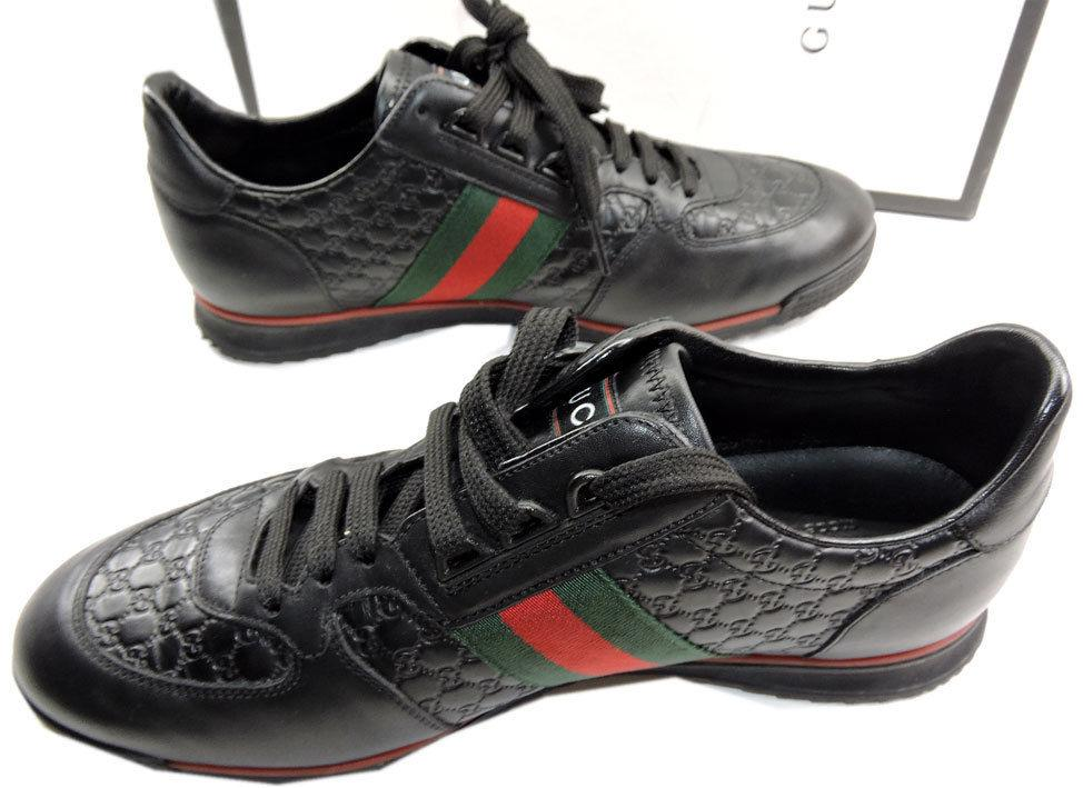 59747a0b784 GUCCI Men s Low Profile SL 73 Sneakers Web Black Leather Shoe 8 Uk- 9 US