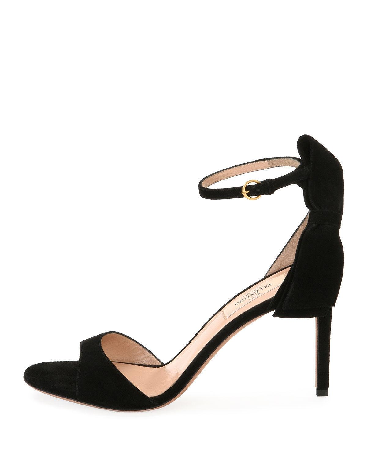 Valentino Garavani Black Suede Back Bow Ankle Strap Pumps Sandals Shoes 39