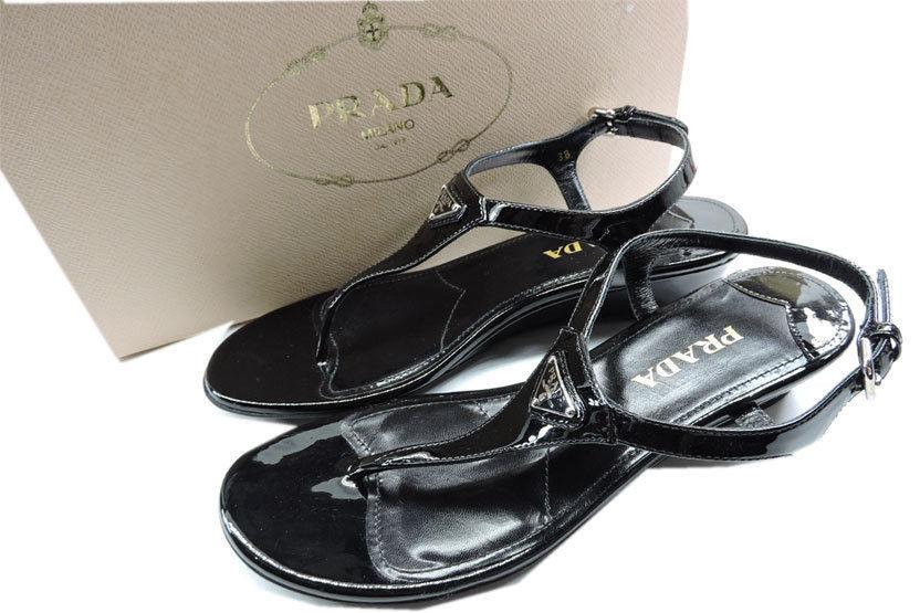 db9f65befafbd Prada Black Patent Leather Wedge Thongs Flat Sandals 38 Slide T Strap Flip  Flop