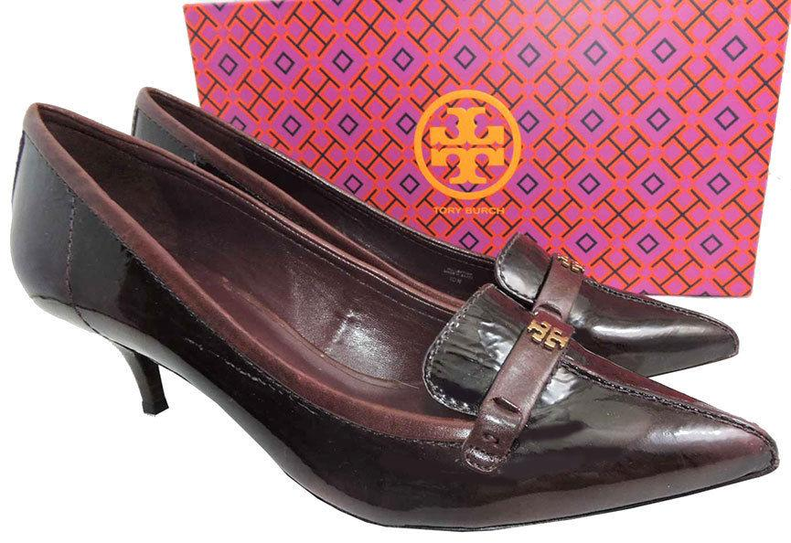 Tory Burch ELIZA Burgundy Leather Pumps Gold Logo Pointy Toe Loafers 10 Shoes 40