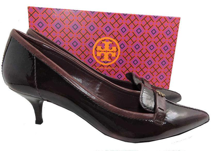 Tory Burch ELIZA Burgundy Leather Pumps Gold Logo Pointy Toe Loafers 10 Shoes 40 - Click Image to Close