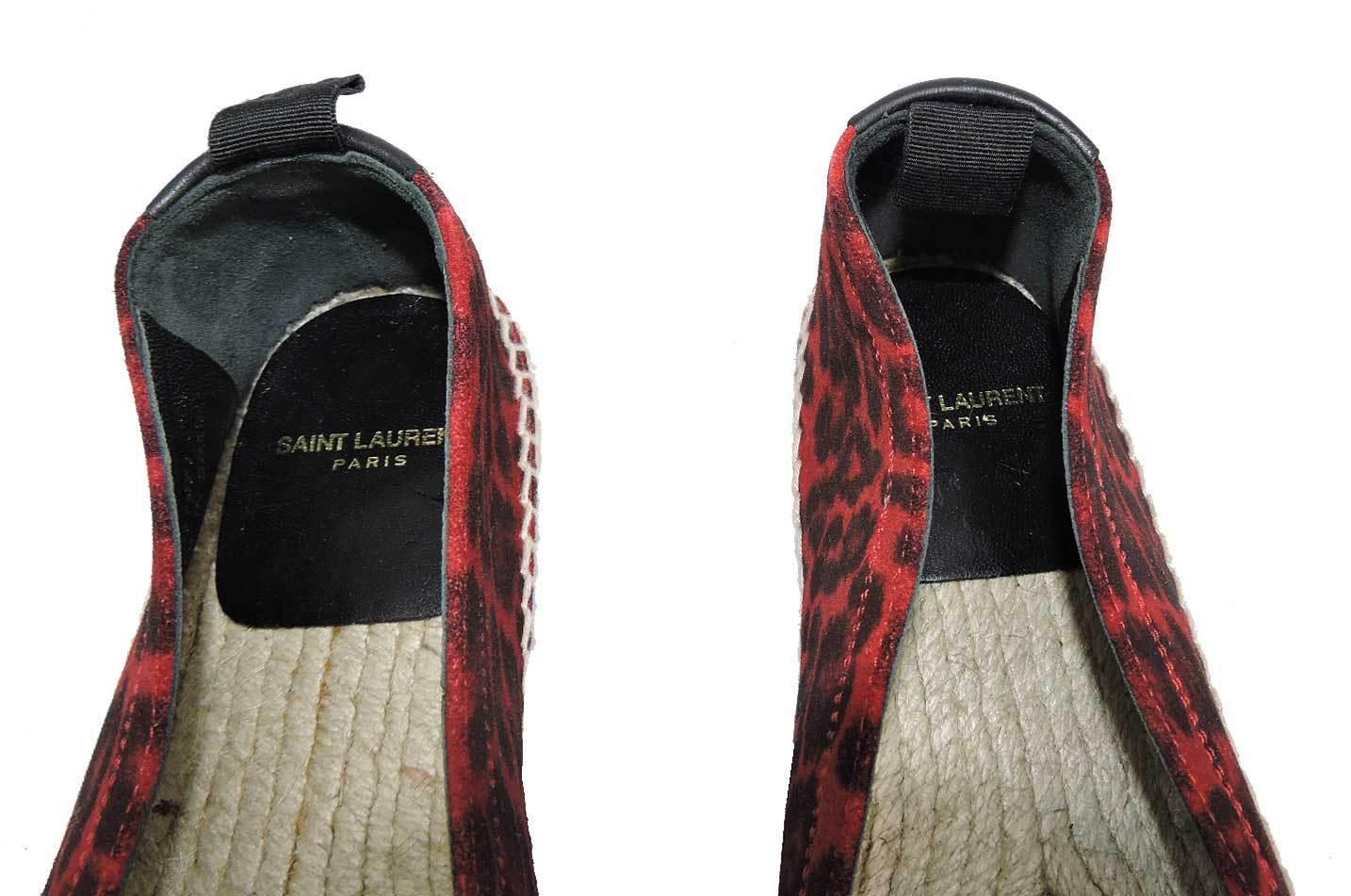 SAINT LAURENT Red Leopard Printed Suede Espadrilles Shoe Ballet Loafer 36.5 - Click Image to Close