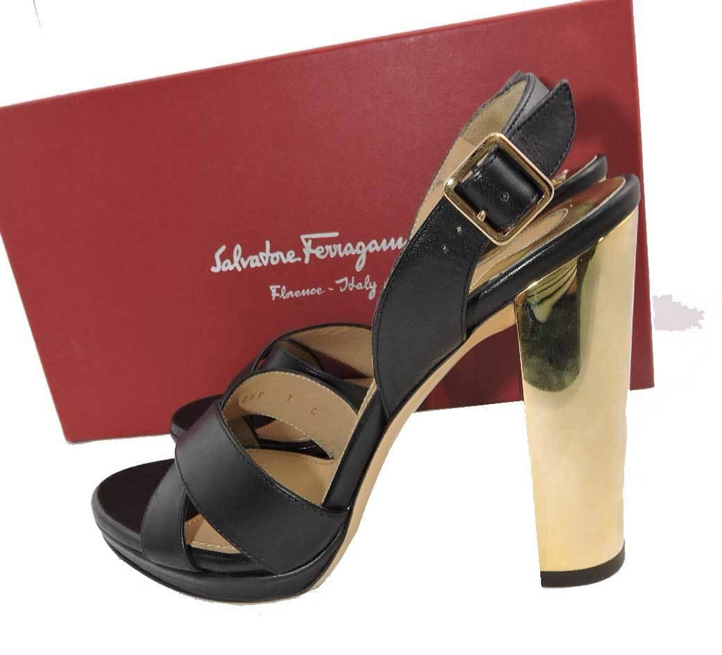 $625 Salvatore Ferragamo Black Leather Platform Sandals Slingback Shoes 7 C - Click Image to Close