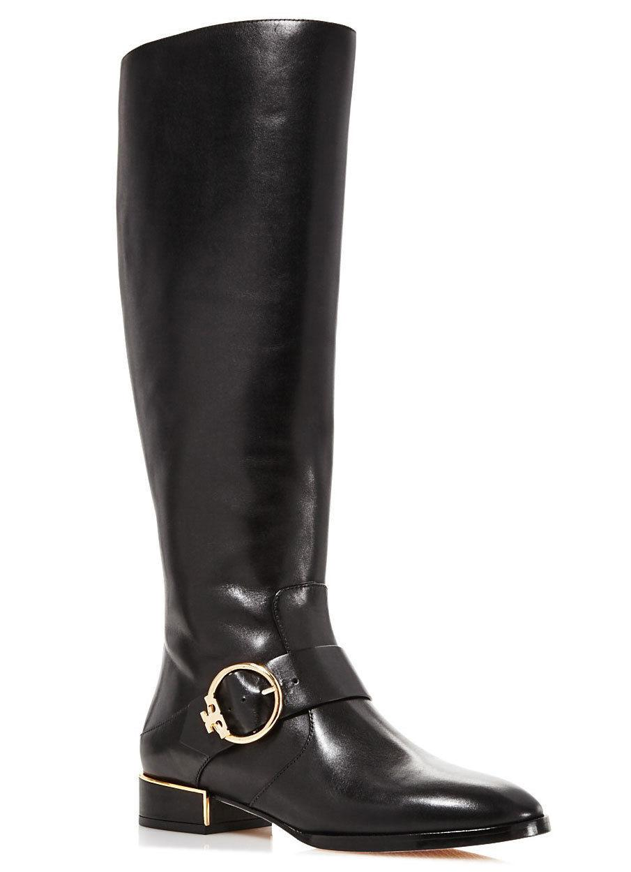 Tory Burch SOFIA Black Leather Riding Boots Flat Buckled Equestrian Booties 7.5